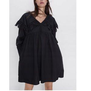 NWT Zara Black Ruffle Mini Long Sleeved Dress